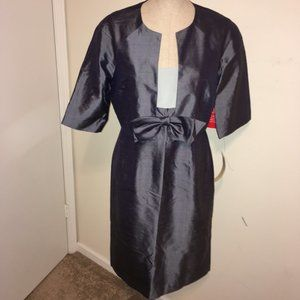 Maggy London  Blue Dress with Bow & Jacket NWT  6
